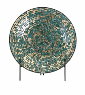 Stylish Glacier Mosaic Charger and Stand