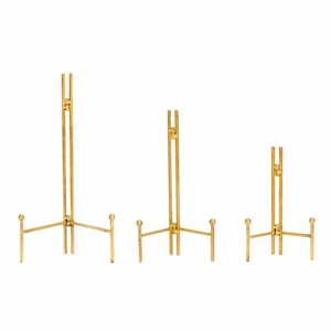 Stylish Metal Easel Gold Set Of 3 by Benzara