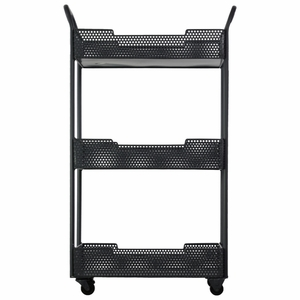 Stylish Metal Tray Stand with Mesh Design-Black- Benzara