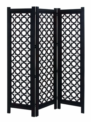 Exquisite Wooden Three Panel Screen In Black And White - 34095 by Benzara