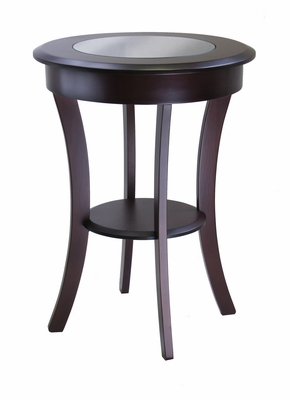Stylish Round Accent Wooden Table with Glass by Winsome Woods