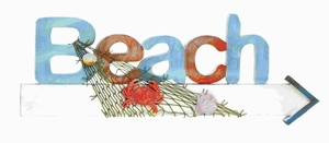 Stylish Wood Beach Sign in Marine Theme with Net and Marine Life  - 78710 by Benzara