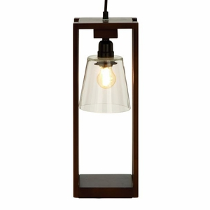 Stylish Wood Glass Table Lamp with Bulb by Benzara
