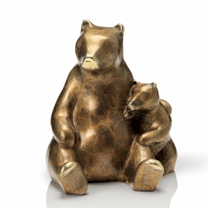 Stylized Bear Holding Cub in Antique Brass Finish by SPI-HOME