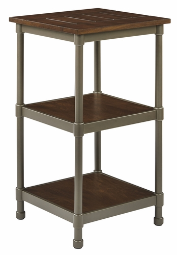 Buy sullivan 3 shelf curio with pewter walnut finish at for Wild orchid furniture
