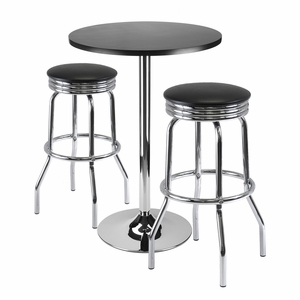 Summit 3pc Bar Table Set with Shiny Look and Feel by Winsome Woods