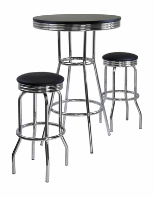 Summit 3pc Pub Table Set with Silver Lining by Winsome Woods