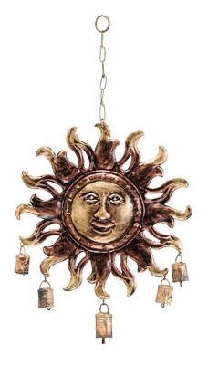 Sun Face Metal Wind Chimes Gardendecor With 5 Metallic Bells - 26692 by Benzara