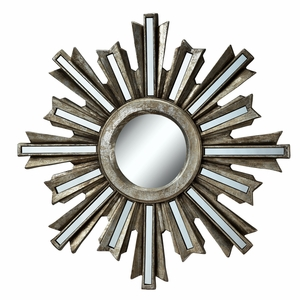 Sunburst Design Hanging Wall Mirror in Silver Deco by SPI-HOME