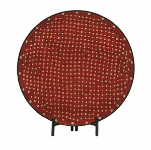 Superb Metal Red Mosaic Platter with Easel - 24050 by Benzara