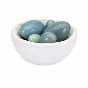 Sutten Ceramic Bird Nest with Eggs, Blue - Benzara