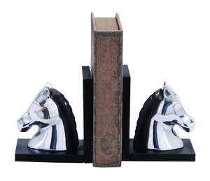 Swanky Aluminum Horse Bookend In Contemporary Style - 26941 by Benzara