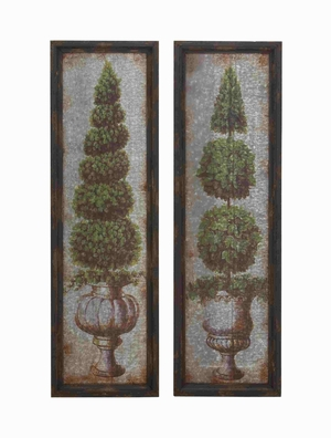Antique Metal Wood Wall Decor 2 Assorted - 20247 by Benzara