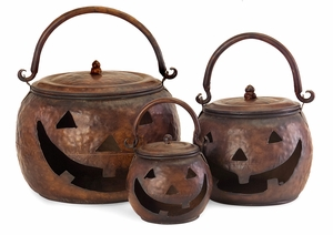 Sweet and Delightful Set of 3 Lidded Pumpkins by IMAX