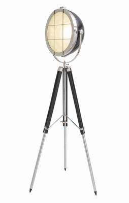 Silver and Black Colored Metal Wood Foldable Spot Light - 46699 by Benzara