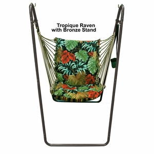 Swing Chair and Stand in Tropique Raven / Lyndhurst Raven by Algoma