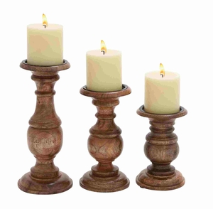 Short And Sweet Wooden Candle Holder Set Of Three In Natural Wood Finish - 51536 by Benzara