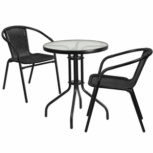 Table And 2 Stack Chair Set Black - TLH-071RD-037BK2-GG by Flash Furniture