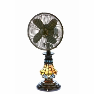 Table Fan/Light - Tiffany Glass Victorian