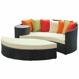Taiji Outdoor Patio Daybed Espresso Multicolor