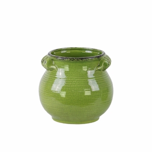 Tall Bellied Tuscan Pot with Handles Distressed- Small- Green- Benzara