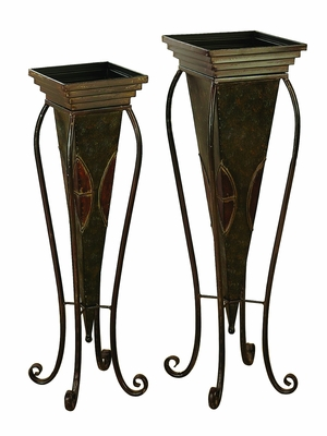 Metal Planter Set Of 2 For In House Nature Enthusiasts - 22766 by Benzara