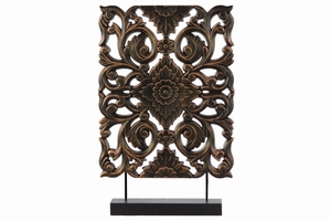 Tall Wood Rectangular Filigree Ornament on Stand- Bronze- Benzara