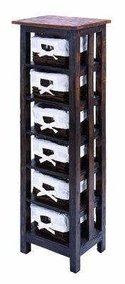 Traditional Wooden Rattan Storage Table With 6 Shelves - 38320 by Benzara