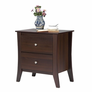 Talli Walnut 2-Drawer Contemporary Night Stand