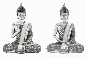 Poly Stone Spiritual Sitting Buddha Assorted Set of Two - 44238 by Benzara