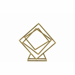 Tangled Squares Abstract Sculpture on Square Base - Gold - Small - Benzara