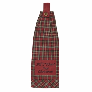 Tartan Holiday Button Loop Kitchen Towel Set of 2