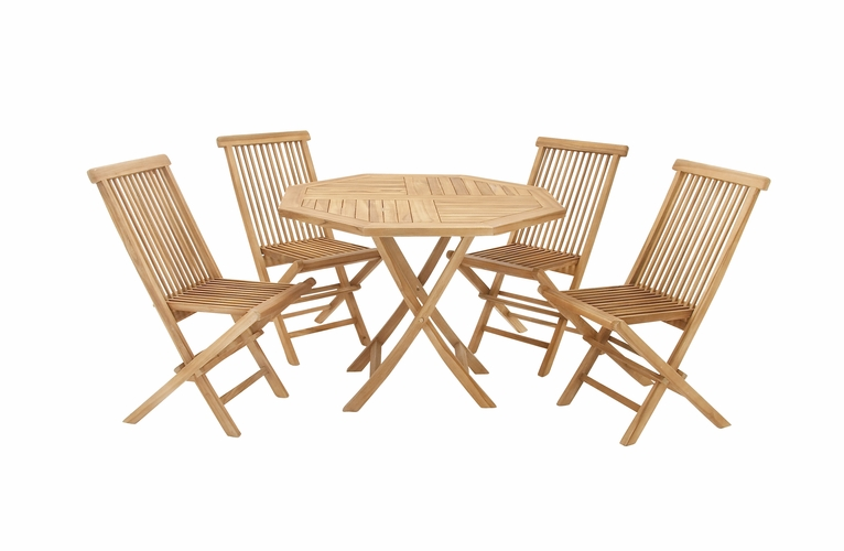 Buy teak wood dining set of 5 42 w 30 h at for Wild orchid furniture