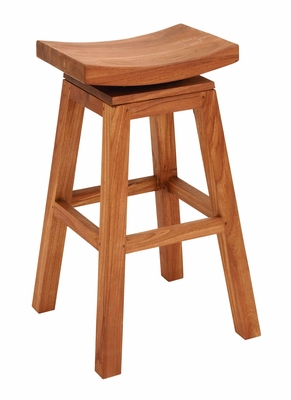 Sophisticated Teakwood Bar Stool In Glossy Brown Finish - 38417 by Benzara