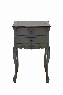 Teana Wooden Table With Two Drawers In Dark Grey And Brown - 37736 by Benzara