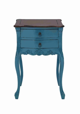 Teana Wooden Table In Skyblue With Brown Top And Two Drawers - 37735 by Benzara