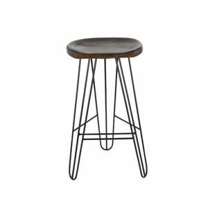 Tenacious Wood Iron Bar Stool - 80597 by Benzara