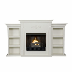 Tennyson Ivory Gel Fireplace w/ Bookcases