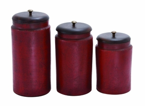 Simple Tera Cotta Jar No-Frill In Rusty Red Finish - Set Of 3 - 38120 by Benzara