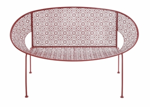 The Bright Metal Red Garden Bench - 28922 by Benzara