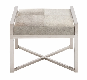 The Charming Stainless Steel Grey Leather Stool - 41210 by Benzara