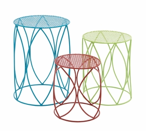 The Colorful Set Of 3 Metal Plant Stand - 28916 by Benzara
