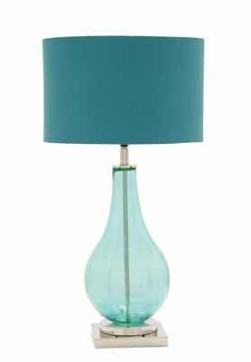 The Cool Blue Glass Chrome Table Lamp by  Import by Benzara