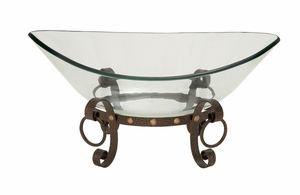 The Cool Glass Bowl Metal Stand - 68545 by Benzara