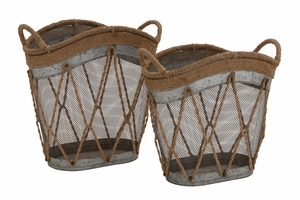 The Cool Set of 2 Metal Burlap Basket - 76190 by Benzara
