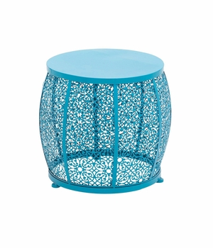 The Delightful Metal Blue Accent Table - 96986 by Benzara