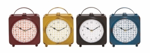 The Delightful Metal Desk Clock 4 Assorted - 92222 by Benzara
