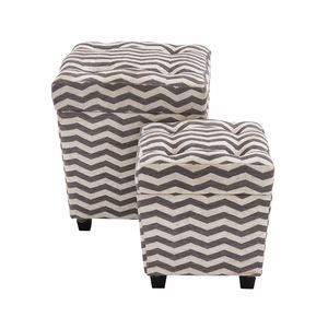 The Funky Set Of 2 Wood Fabric Ottoman - 56609 by Benzara