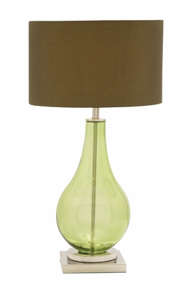The Greenish Glass Chrome Table Lamp by  Import by Benzara