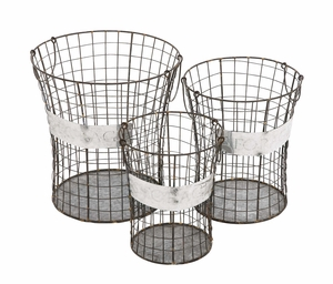 The Handy Set of 3 Metal Wire Basket - 49133 by Benzara